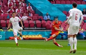 Gareth Bale takes a shot.