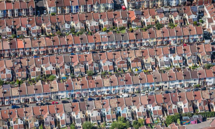 Aerial photograph of terraced housing, Southville, Bristol