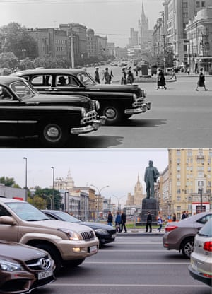 <strong>1954<br></strong><br>Cars passing Mayakovsky square are newer models in 2015, and there's a statue of Russian poet Vladimir  Mayakovsky in the background.