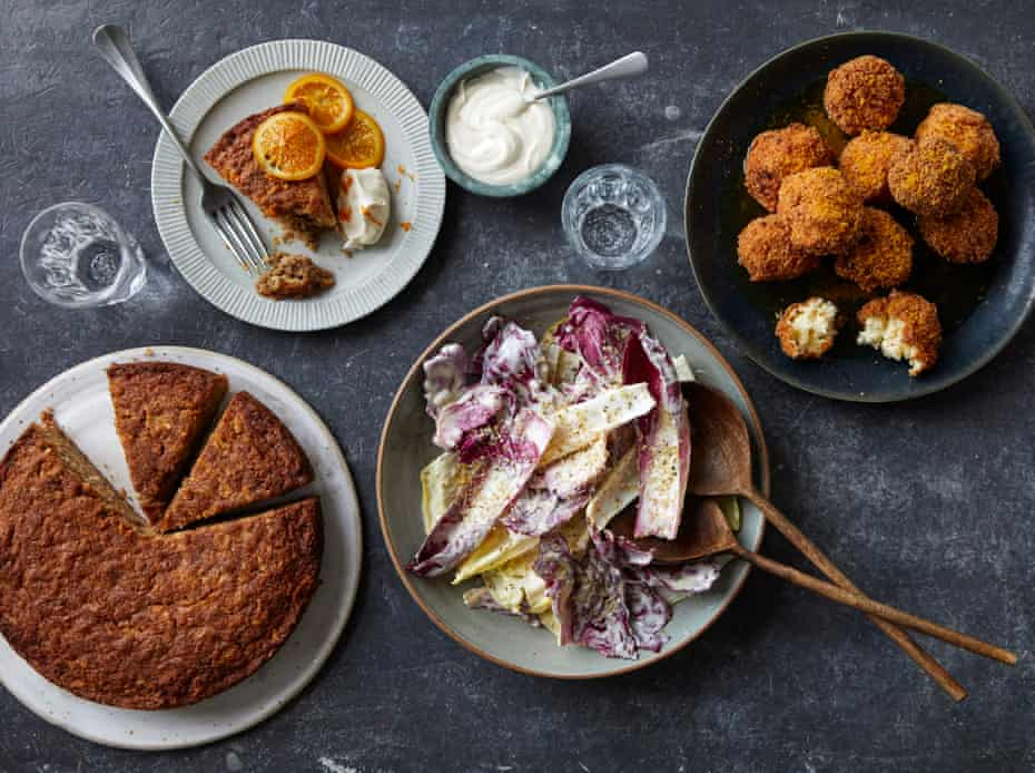 Pamela Yung's winter veg spread of fritters (top right). chicory salad and celeriac citrus cake (left).