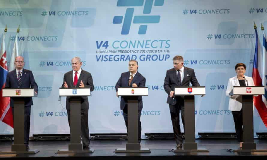 From left: Bohuslav Sobotka of the Czech Republic, Benjamin Netanyahu of Israel, Viktor Orbán of Hungary, Robert Fico of Slovakia and Beata Szydło of Poland