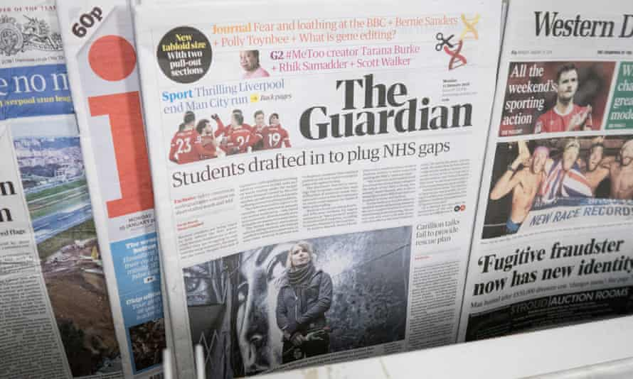 The Guardian Newspaper Launches New Tabloid FormatBRISTOL, ENGLAND - JANUARY 15: A copy of the new tabloid sized The Guardian newspaper with its new masthead is pictured for sale on January 15, 2018 in Bristol, England. In a cost-cutting move, publisher Guardian News & Media has ditched the distinctive Berliner size after just over 12 years and outsourced the printing of the tabloid to Trinity Mirror. (Photo by Matt Cardy/Getty Images)