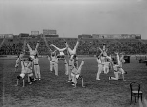 1 June 1912: A gymnastics display is performed by students at the Polytechnic Harriers meeting at Stamford Bridge. The stadium pre-dates Chelsea Football Club by more than a quarter of a century. It opened on 28 April 1877 as an athletics venue and didn't become home to the Blues until 1905.