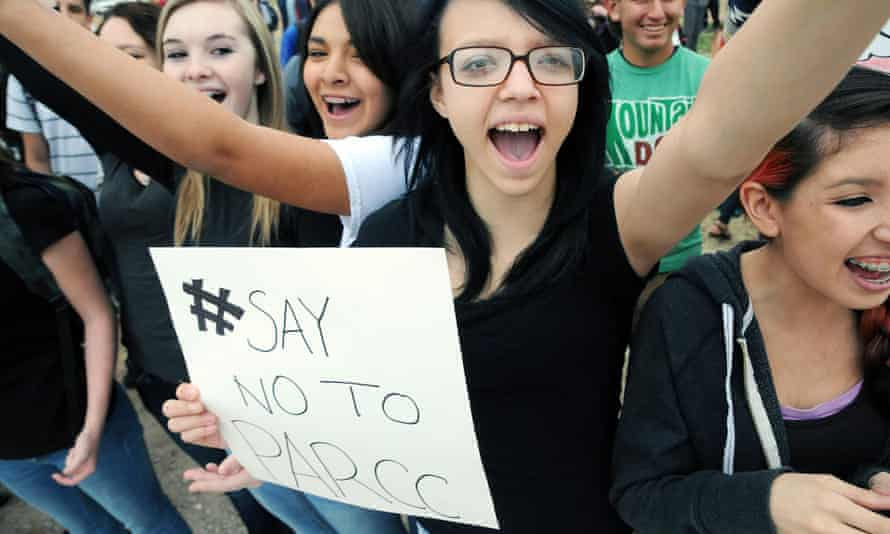 High school students in New Mexico participate in a walkout against the new nationwide Partnership for the Assessment of Readiness for College and Careers online exam.