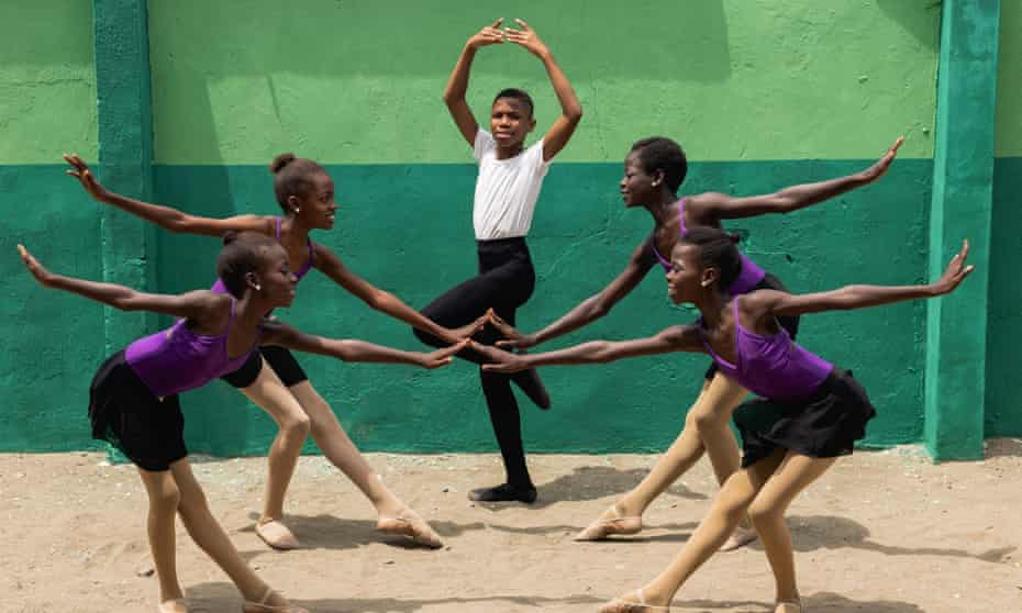 Anthony Madu and other students at the Leap of Dance Academy in Lagos