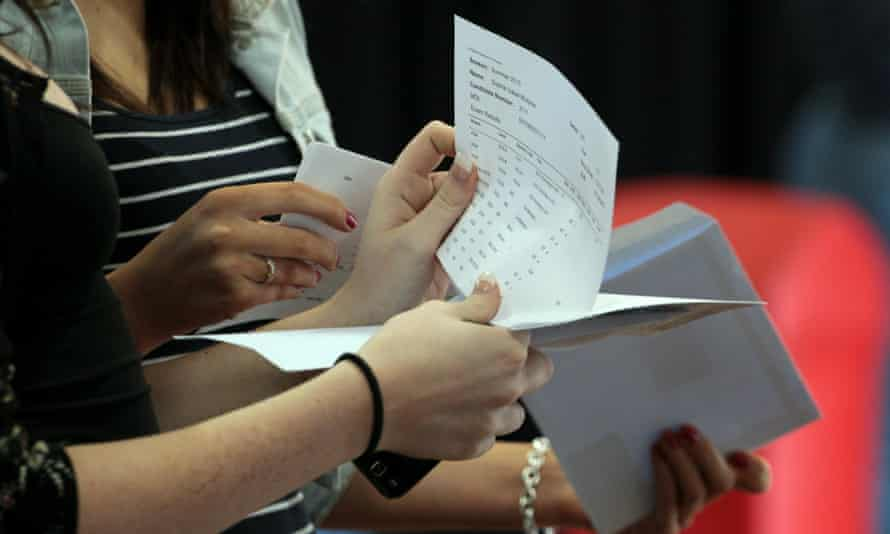 Students open their A-level results.