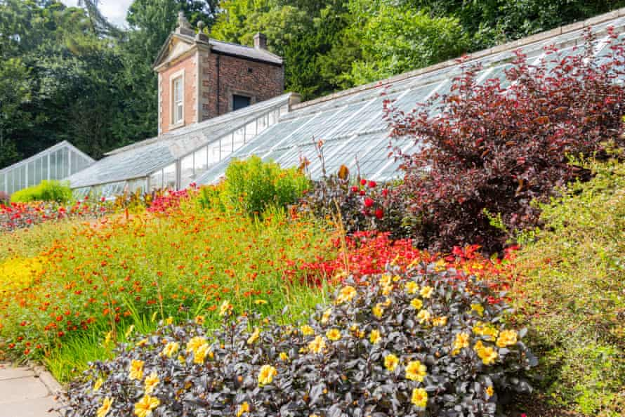 walled garden with flowers in front of the orangery glasshouse at Wallington House & Gardens Northumberland, UK.