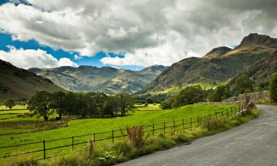 Scenic shot of fells and landscape in Great Langdale, the Lake District, UK