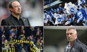 Newcastle manager Rafael Benitez, Brighton fans, Derby manager Nigel Pearson, Burton Albion fans