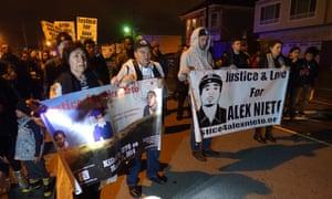 Elvira and Refugio Nieto take part in a protest march.