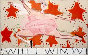Rose Wylie's Pink Skater: Will I Win, Will I Win.