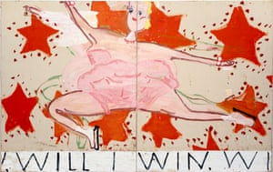 The 'jubilant and preposterous' Pink Skater (Will I Win, Will I Win), 2015 by Rose Wylie.