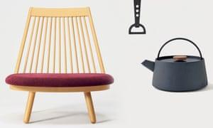 From left: Spoke Chair, 1963, for Tendo Co by Katsuhei Toyoguchi . Kamasade bottle opener, 1964, by Yuki Iwane Nobuho Miya. Tetu (iron kettle), 2013, for Yosuke Otomo by Makoto Koizumi,