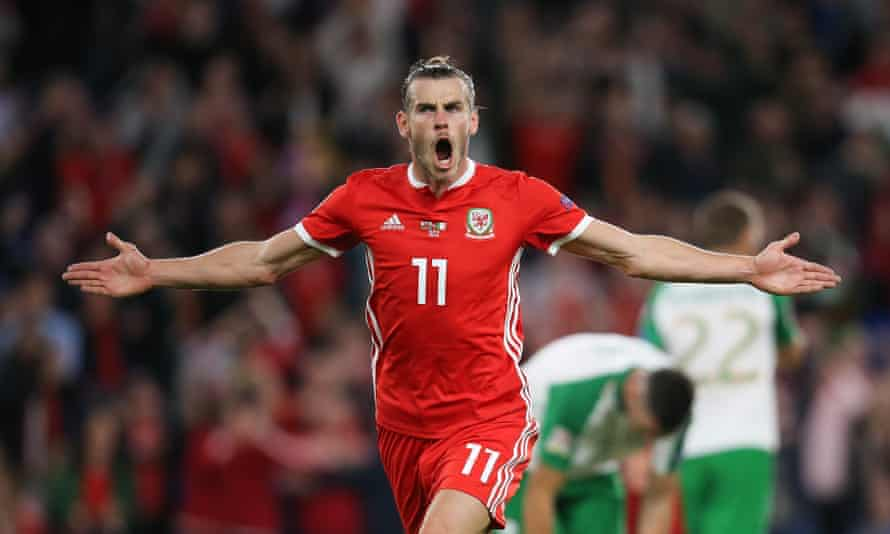 Gareth Bale celebrates after scoring Wales' second goal in a comprehensive dismantling of Ireland in the Nations League.