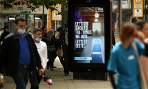 An electronic display board in Manchester promotes NHS Test and Trace.