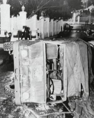 A military truck, used by rebel troops to storm the government palace in a coup attempt, in February 1992.