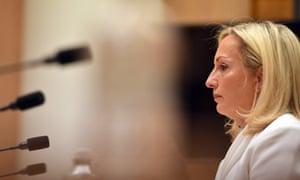 Christine Holgate at a Senate inquiry in Canberra last month