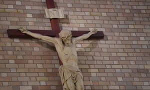 A crucifix is seen at St Christopher's cathedral in Canberra