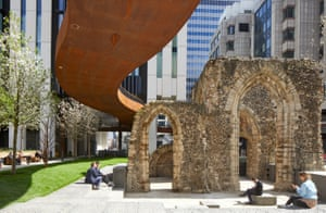 An elevated walkway at London Wall Place passes over the Roman remains of St Alphage church in the City of London.