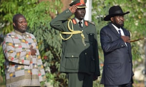 Former rebel leader and new vice-president Riek Machar (left) and President Salva Kiir (right)