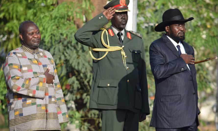 New vice president Riek Machar (left) is sworn in beside president Salva Kiir (right) in Juba in April.