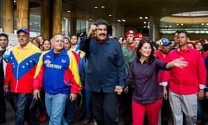 The Venezuelan president, Nicolás Maduro, with first lady Cilia Flores.