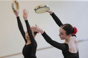 Armstrong attends a lesson at the Bolshoi Ballet Academy