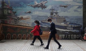 A military-themed mural in Taiwan's capital Taipei. Tensions have increased between China and Taiwan.