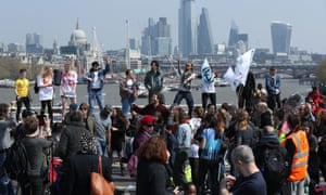 Protesters on Waterloo Bridge