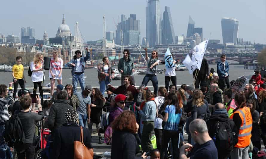 Protesters on Waterloo Bridge