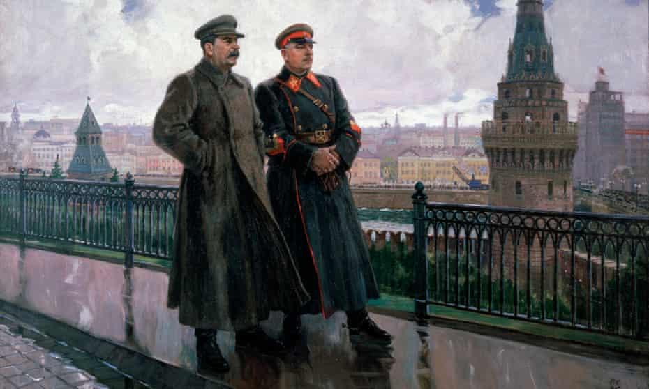 Joseph Stalin and Kliment Vorosholov in the Kremlin after the Rain, a 1938 painting by Aleksandr Gerasimov. Vorosholov was the worst marshal in the Soviet army.