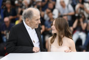 Jean-Louis Trintignant and Fantine Harduin pose during a photocall for the film Happy End