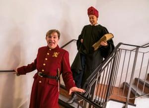 Jonathan Broadbent and Nina Bowers backstage