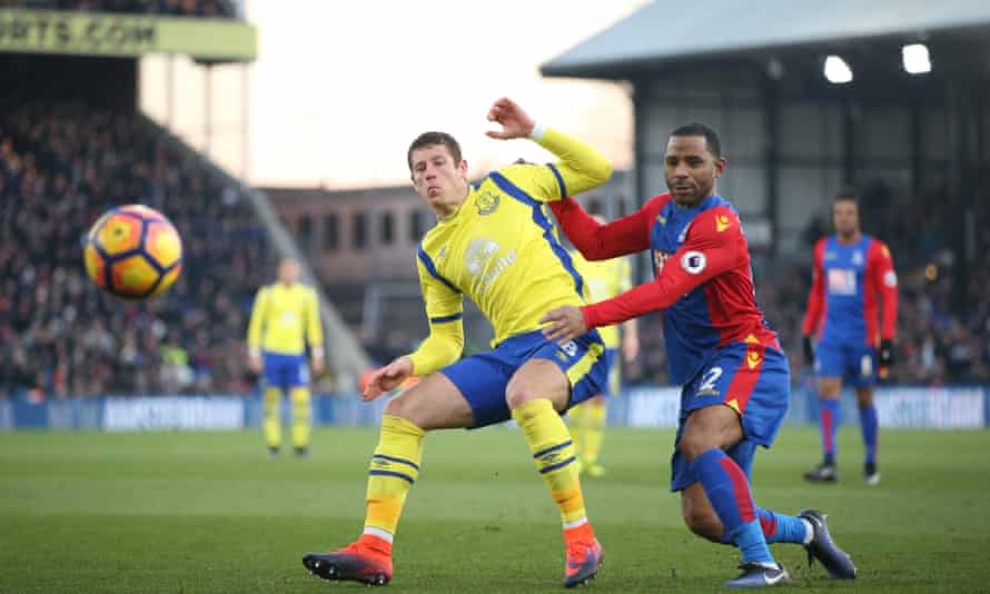 Ross Barkley holds off Crystal Palace's Jason Puncheon during Everton's 1-0 win at Selhurst Park.