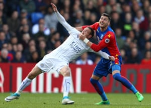 Crystal Palace's Joel Ward and Leicester City's Jamie Vardy