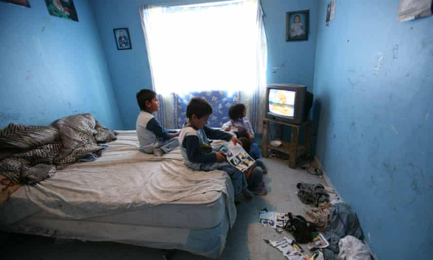 Child poverty has been a long term problem in Ontario despite attempts to tackle it for decades as this 2005 photograph of children watching television in a bedroom that sleeps 7 in Kashechewan suggests.