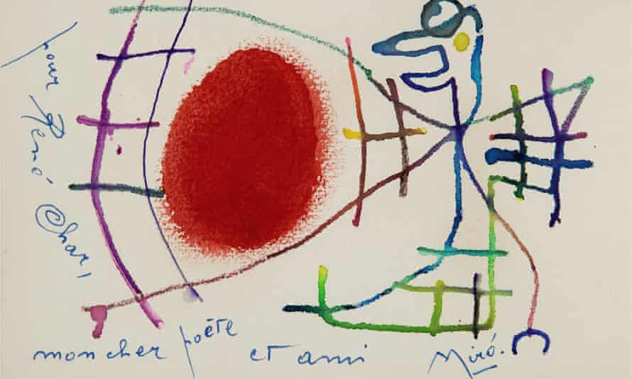An original Miró watercolour which is part of the auction