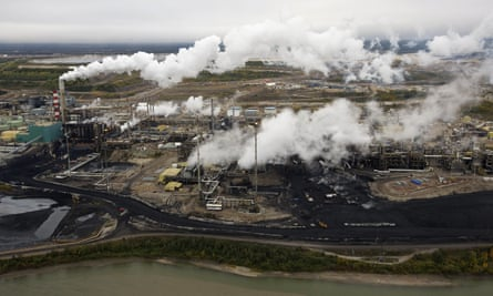 The Suncor tar sands processing plant near the Athabasca River near Fort McMurray, Alberta