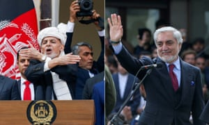 Ashraf Ghani and Abdullah Abdullah during their separate swearing in ceremonies.