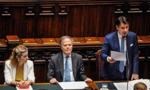 Prime Minister Giuseppe Conte (right) speaking today.