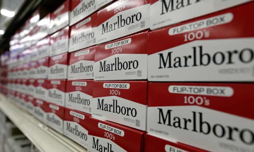 Marlboro cigarettes on the shelves at JR outlet in Burlington, NC.