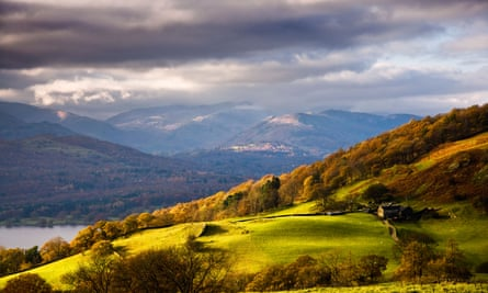 Autumn view over the countryside and Windermere from near Troutbeck and Ambleside.