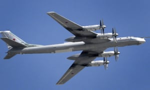 A Russian Tupolev Tu-95 turboprop-powered strategic bomber