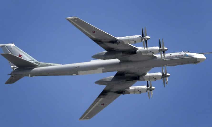 A Russian Tupolev Tu-95 turboprop-powered strategic bomber