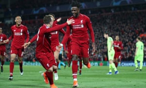 Divock Origi after scoring Liverpool's fourth goal in their 4-0 victory over Barcelona that secured a 4-3 aggregate win and took them to the Champions League final.