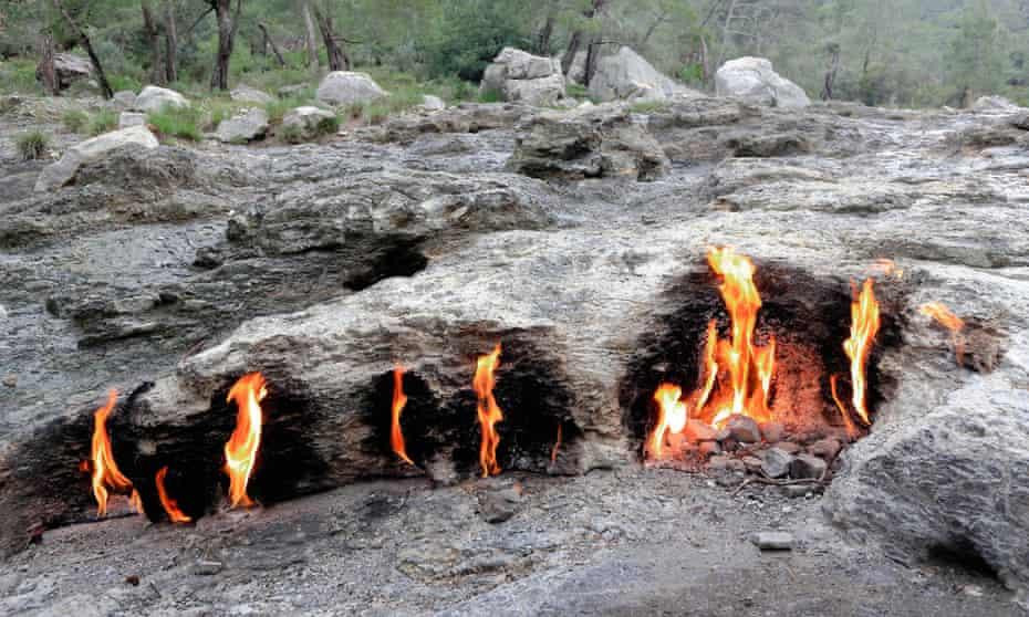 Flaming stones near Olympos.
