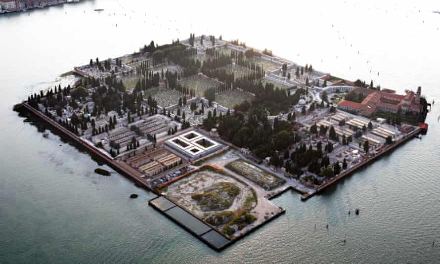 Aerial view of San Michele Cemetery in Venice, Italy