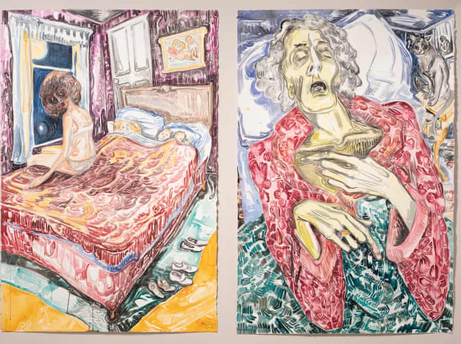 Boiling with resentment … left: Starry Night, 2019; right: Mother Asleep, 2019.