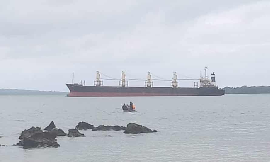 Bulk carrier MV Quebec at anchor in Graciosa Bay in Temotu, Solomon Islands.