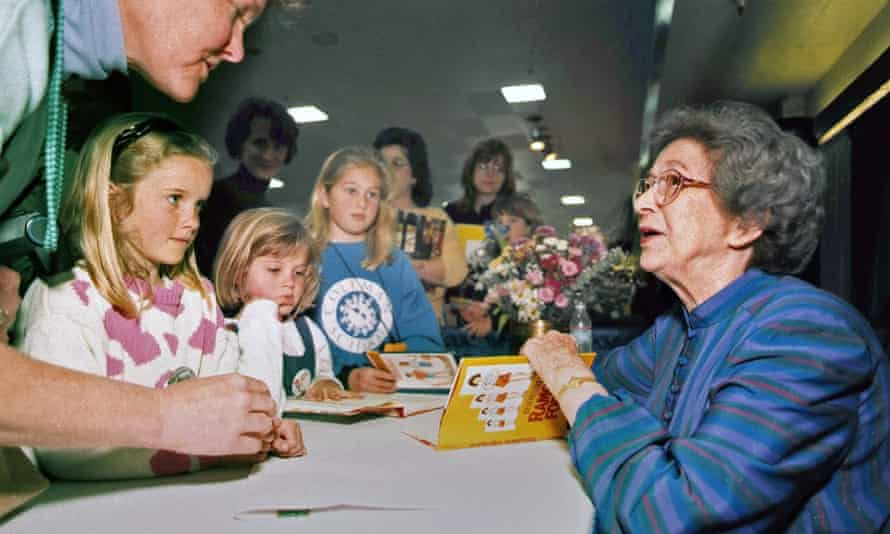 Beverly Cleary signs books at the Monterey Bay Book Festival in Monterey, California, in 1998.